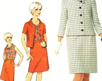 1960s Suit Pattern Blouse Simplicity Vintage Mod Skirt Uncut Sewing Women's Misses Size 12 Bust 32 inches