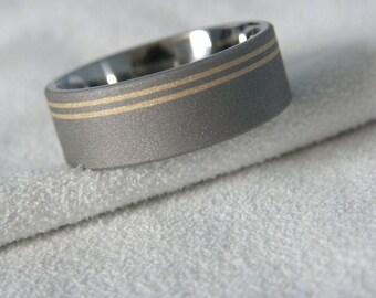 Titanium Ring with Yellow Gold Offset Pinstripe Inlays, Sandblasted, Wedding Band