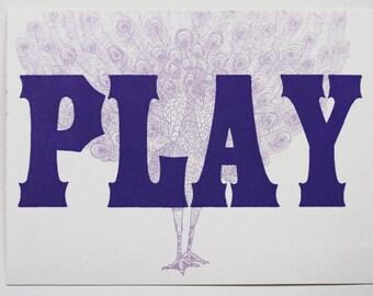 Play Card--Letterpress Printed Postcard