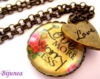 Love more worry less necklace - Quotes necklace - Heart love necklace - Valentine necklace n705