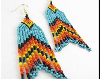 Native American Style Beadwork Seed Bead Earrings Turquoise Multicolored Dangle