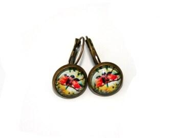 Red Bird Earrings, Illustration Jewelry, Dangle Earrings