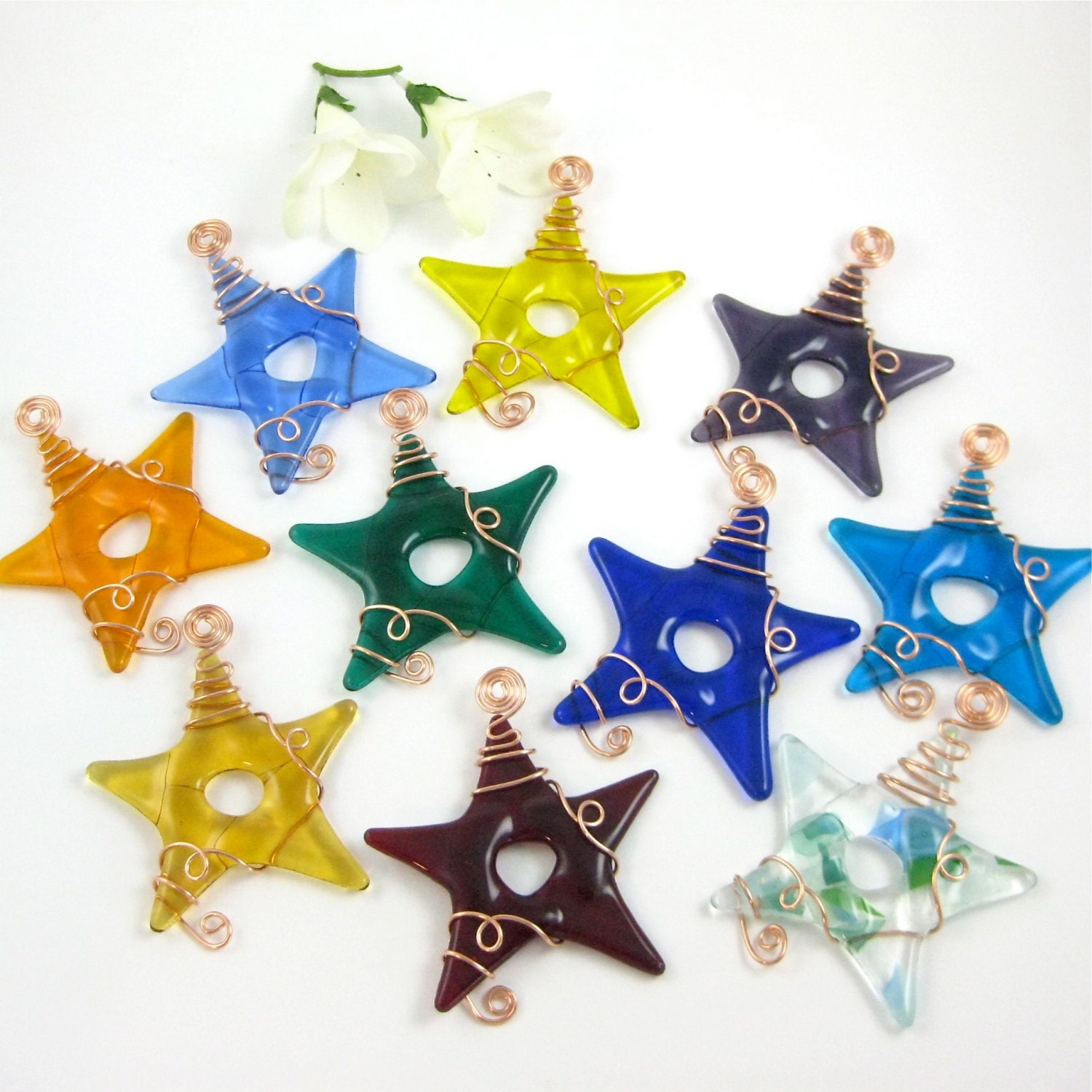 Ten glass star suncatcher ornaments fused stars your