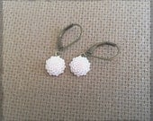 Pale Pink Chrysanthemum Cabochon Earrings