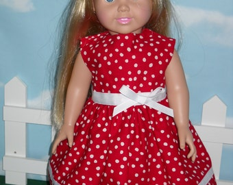 18 inch Doll Summer Dress Handmade Red with Poka Dots
