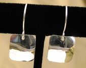 Sterling Silver Square Shiny Drop Earrings