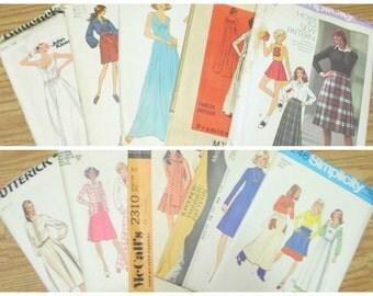 SALE Vintage 100 1970s Sewing Pattern Destash of Mod Maxi Dresses Pant Suits Mini Skirts Bathing Suits