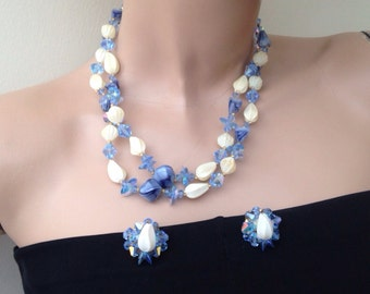 Vintage blue crystal necklace & earrings Demi-parure