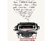 Typewriter, Art Print, Typography, Illustration, Classic, Retro, Vintage, Home Decor, Wall Art, Decorative Art