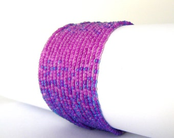 Purple and Pink Bracelet, Ombre Bracelet, Fuchsia Multistrand Beaded Cuff, Multi Strand Beadwoven Cuff, Bright Pink Jewelry, Gift For Her