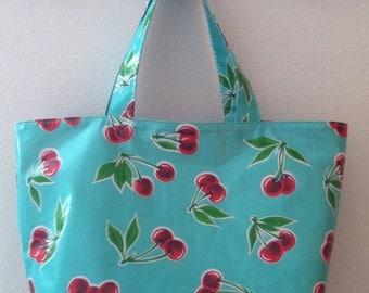 Beth's Big Retro Cherries Oilcloth Market Tote Bag