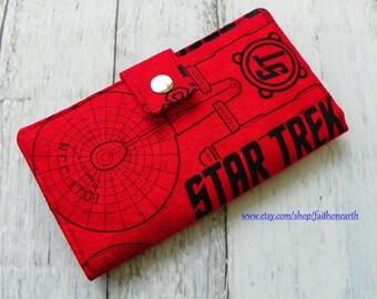Handmade Long fandom geek Wallet  BiFold Clutch- Vegan Wallet - Red USS Enterprise Star Trek wallet
