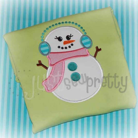 Simple snowman embroidery applique design