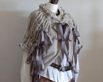 Oversized chunky Scarf shrug, modern urban warm shawl poncho, caffee latte capelet gathered with gray ribbons, sweatshirt fabric shawl