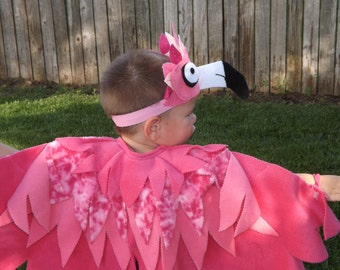 Pink Flamingo Play Costume Bird Wings with matching Headpiece - Halloween Flamingo Kid's Costume Fleece Parrot Wings and Mask