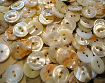 """Vintage Mother of Pearl  buttons 49 NOS 9/16"""" 2 holes coral colored MOP genuine"""