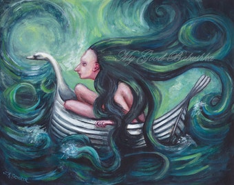 Storm at Sea, Hair in the Sea Raises a Storm, Fairy Tale, Folk Lore, Original Painting, Long Hair, Sailor, Swan Boat, Ocean Voyage, Surreal