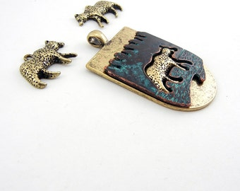 Set of Bear Charms and Pendant Antique Gold-tone and Patina