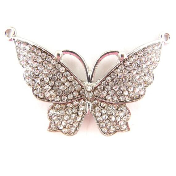 Silver-tone Double Link Rhinestone Butterfly Pendant
