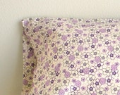 Eco Travel/Toddler Pillowcase - Organic Cotton - Purple Floral - Eco Friendly Gift Idea