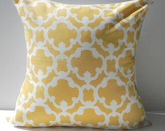 New 18x18 inch Designer Handmade Pillow Cases in yellow and white tile pattern