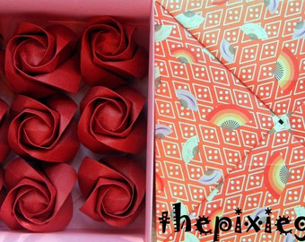 ORIGAMI PAPER HANDMADE Red Roses With Gift Box 1st Year Anniversary Wedding Gift