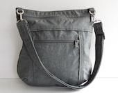 Sale - Grey Water Resistant Nylon Messenger Bag - Shoulder bag, Tote, Hip bag, Travel bag, Women - JOY