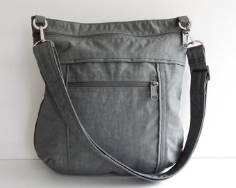 Sale - Grey Water Resistant Nylon Messenger Bag - Shoulder bag, Tote, Hip bag, Travel bag, Women - JOY
