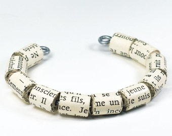 Paper Bead Bracelet- French Jewelry, Paper Bead Jewelry Cuff Bracelet, French Jewelry, Paper Jewelry, Upcycled Book Jewelry, Book Lover Gift