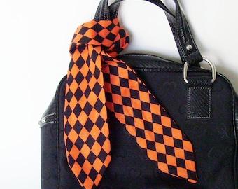 Orange Black Harlequin Head Scarf /  Halloween Hair Accessory / Neck Scarf / Handbag Adornment / Rockabilly Scarf / Gift Under 15