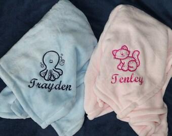 Custom baby blanket etsy custom baby blanket embroidered baby blanket personalized baby blanket baby animal blanket negle Choice Image