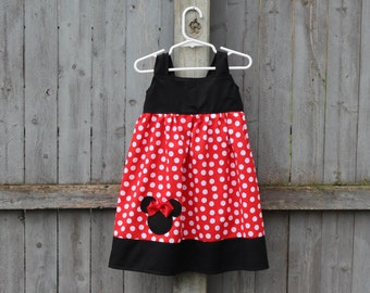 Red Minnie Mouse Dress, Reverse Knot Dress, Minnie Knot Dress, Perfect for Minnie Mouse or Mickey Mouse Birthday Party!