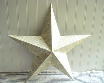 "Decoupaged metal tin star French text collaged 18"" star French Cottage Chic Shabby Farmhouse Romantic"