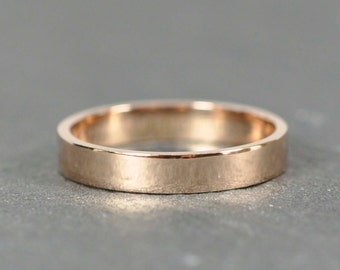 Rose Gold Wedding Band, Simple Stacking Ring 18K Gold, 3mm, Recycled Eco Friendly, Sea Babe Jewelry