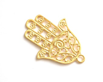 1pc Matte 22K Gold Plated Base Hand of Hamsa Pendant - 80x60mm-(008-024GP)