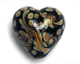 Black w/Beige Free Style Heart Focal Bead - Handmade Glass Lampwork Bead 11805305