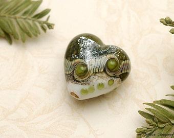 Olive Stardust Heart Focal Bead - Handmade Glass Lampwork Bead 11831205