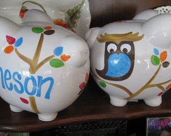 piggy bank hand painted personalized skip hop tree tops owl