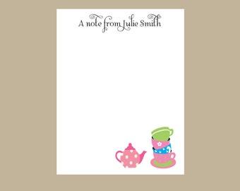 Tea party notepad, tea cup, tea pot, Notes, teacher gift