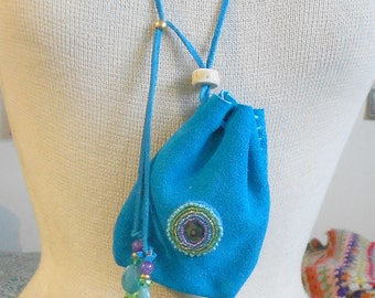 """Beaded Abalone Shell / Turquoise Blue Suede Leather Necklace Pouch - Adjustable Length - Large Size 12.5 x 10 cm. (5"""" x 4"""") - OlyTeam"""