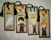HARRY POTTER- Set of 4 laminated Bookmarks - Made to order - Custom - Personalized - Stocking Stuffers - HP 446