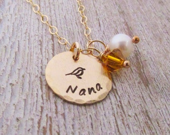 Nana Necklace -  Personalized Jewelry  - Hand Stamped Necklace - Birthstone Jewelry - Gold or Silver Grandma Necklace - Mother's Day