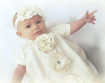 Baby girl baptism DRESS, Grace's Garden in antique ivory and vintage lace, custom newborn to 6 vintage inspired