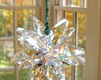 """HUGE Swarovski Crystal Aurora Borealis Cluster Suncatcher, Shimmers in low light - Choose From 14 Strand Colors - """"STELLA VENTI ab"""""""