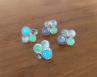 CC Stud Bubble Earrings, Handcrafted from Sterling Silver and Semi Precious Gem Stones, Stud earrings
