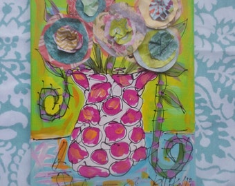 Paper Roses Canvas  Collage Painting Ready To Ship