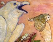 Whitethorn - Raven Barn Owl Celtic White Blue Feathers Shaman Hawthorn Flowers Berries Thorns