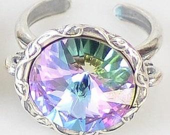 MISTY ROSE Crystal vitrail light adjustable ring  in antique silver