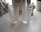 Vintage Retro Lot of 2 Juice Glasses Clear glass with ribbed look