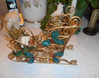 Vintage Gold Heavy Metal Christmas Sleigh Decoration Piece
